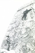 Rock Climbing Photo: Alan Nelson on the FA. Photo: A. Nelson collection...