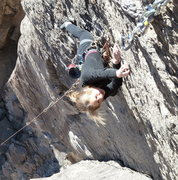 Rock Climbing Photo: Anna crimping through the crux on her first 5.11 l...
