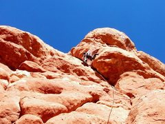 Rock Climbing Photo: Geoff climbing through the lower crux.