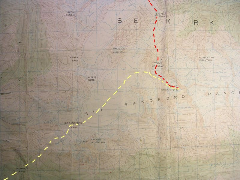 Moberly Pass Approach Map<br> contour interval: 100 feet<br> one kilometer grid<br> <br> Red - First Ascent Rt (Avalanche!)<br> Yellow - Moberly Rt/NW Ridge