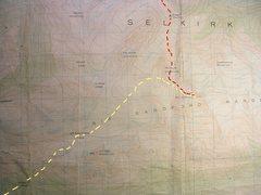 Rock Climbing Photo: Moberly Pass Approach Map contour interval: 100 fe...