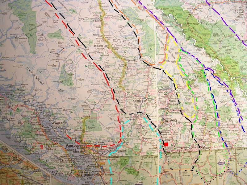 MOUNTAIN RANGES OF<br> BRITISH COLUMBIA<br> <br> black - Interior Plateau<br> red box - Skaha<br> red - Coast Range<br> orange - Cariboo Range<br> yellow - Monashee Range<br> green - Selkirk Range<br> blue - Purcell Range<br> lite blue - Cascade Range<br> violet - Canadian Rockies<br> white - BC/Alberta
