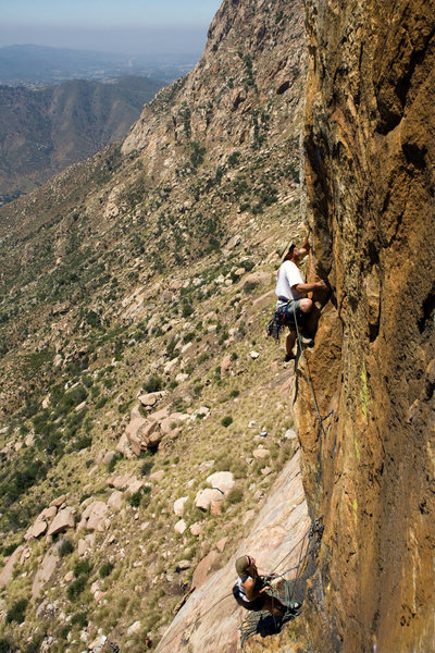 Rock Climbing Photo: Fred Maki leading P3 of Triton Tower.
