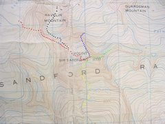 Rock Climbing Photo: Mount Sir Sanford Route contour interval: 100 feet...