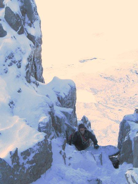Jim Lee , Dec 2010 on Bristly Ridge, Glyder Fach