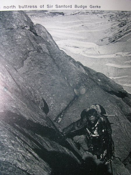 Ted Davis, a sailor and climber from British Columbia. I met Ted just after he climbed the Salathe Wall, before camming devices were invented. He called their route gnarly, expect double (gnar-gnar). <br> <br> Photo by Budge Gerke <br> published in CAJ, 1973