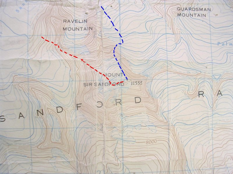 North Buttress Sir Sanford<br> contour interval:  100 feet<br> one kilometer grid<br> <br> Blue - North Buttress<br> Red - Descent<br> Red arrow - rap steep buttress to avoid Hourglass.