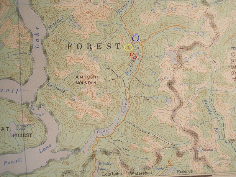 Eldred Valley Map<br> contour interval: 500 feet<br> light blue 10km grid<br> <br> red outline - Carag Dur<br> yellow outline - Mainer<br> blue outling - Psyche Slab