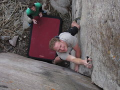 Rock Climbing Photo: Jack Cohen brushing up for the FA