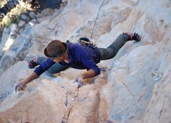 Rock Climbing Photo: MR getting past the crux and into a big stem!