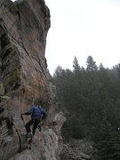 Rock Climbing Photo: John finishing off the bolting job on Breaking the...