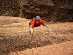 Rock Climbing Photo: Jake Warren following the Disappearing Devil.  Gre...