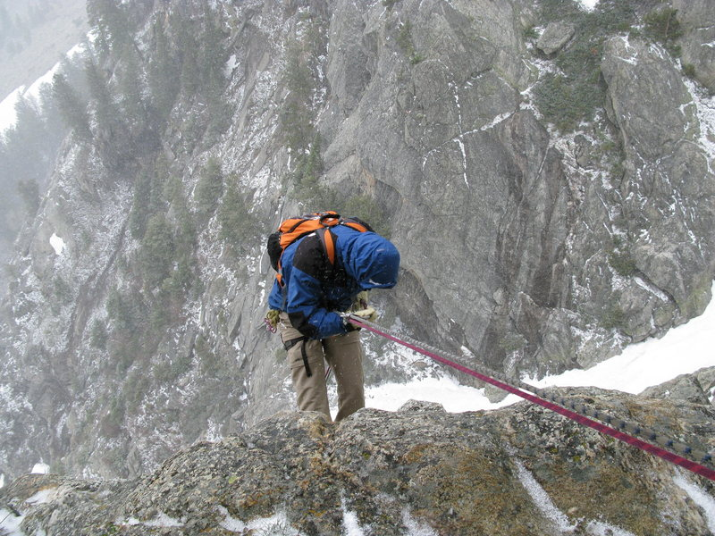 Rock Climbing Photo: Spence rappelling Guide's Wall in a snowstorm, 200...