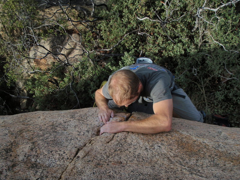 Rock Climbing Photo: trying to follow the crack on Dr Livingston (V1)
