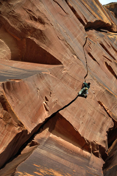 Indian Creek, 2nd Meat Wall, Carnivore 12a. Climber unknown getting the onsight.