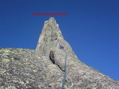 Rock Climbing Photo: 2' wide 30 degree slab about 30 feet long. Very ex...