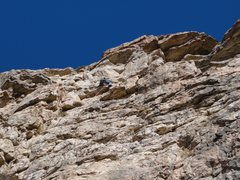 Rock Climbing Photo: making the short rightward traverse to the dihedra...