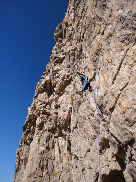 Rock Climbing Photo: The start variation up the 10+ crack.  The origina...