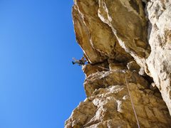Rock Climbing Photo: Eric Zschiesche, above the roof, on the final move...
