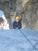 Rock Climbing Photo: Luke rapping off of the hose.