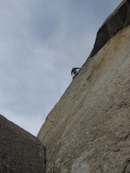 Rock Climbing Photo: S. Giffin starts into the crux of the first pitch.