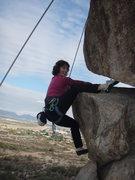 Rock Climbing Photo: Suzanne using a toe hook