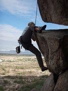 Rock Climbing Photo: Susan using a heel hook