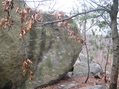 Rock Climbing Photo: Starts low in the seam, moves right across the bla...