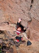 Rock Climbing Photo: Past the thin crack to a bigger piece of pro and c...