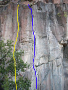 Rock Climbing Photo: Burnt Crack is the yellow line in this photo. Blue...