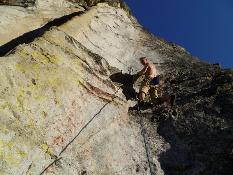 Rock Climbing Photo: Karsten makes his way to the first bolt on Boot Hi...