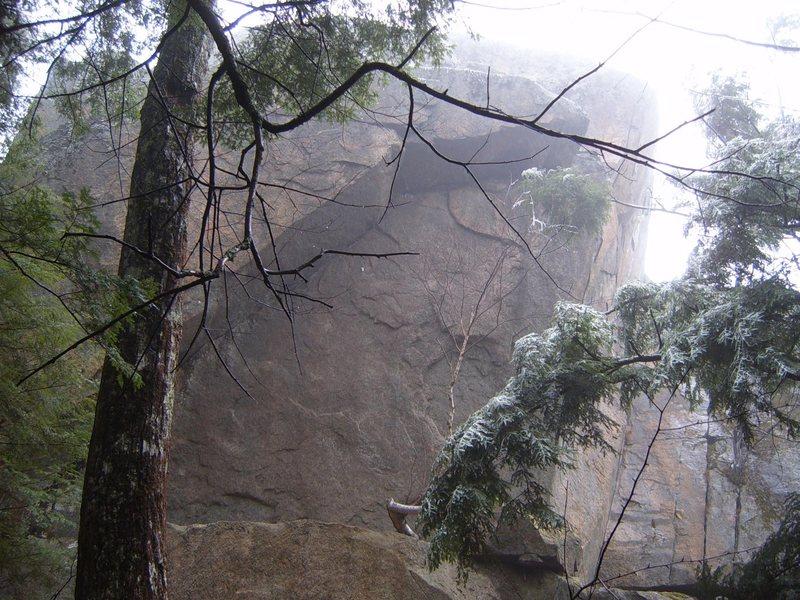 Rock Climbing Photo: Micro-aid in the rain and ice