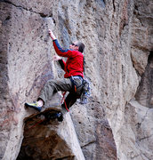 Rock Climbing Photo: Paul reaching for the first horizontal after the r...