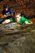 Rock Climbing Photo: Black slab right (V3) at Rumbling Bald.