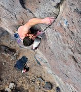 Rock Climbing Photo: James digs his fingers in at the top of the laybac...