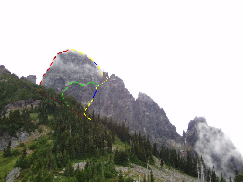 Slesse Mountian's West Side<br> Photo by MP contributor John Bradford<br> <br> Red - North Pillar<br> Yellow - Standard Descent<br> Blue - Rappelling<br> Green - Standard Rt ascent line
