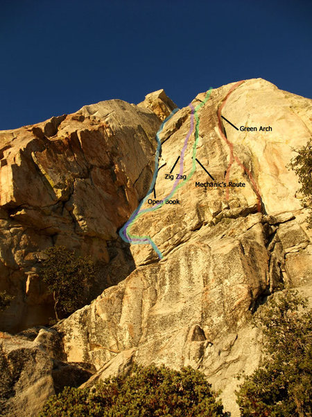 Rock Climbing Photo: S Face showing Open Book, Zig Zag, Mechanic's Rout...