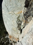 Rock Climbing Photo: looking down P1 and the classic dihedral on Open B...