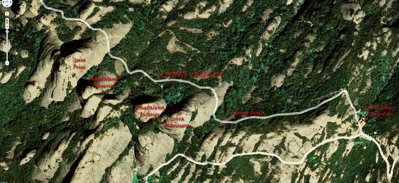 Rock Climbing Photo: Ariel photo showing location of Magdalena Inferior