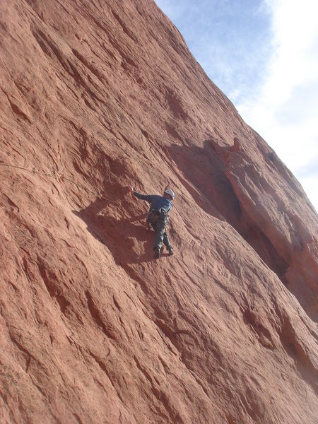 Lee Rittenmeyer working the Lower Finger Traverse.