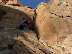 Rock Climbing Photo: On the ledge below the crux slot.