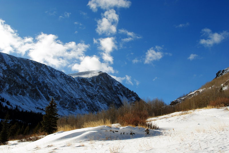 Quandary Peak from McCullough Gulch<br> Summit County, CO<br> December 2009