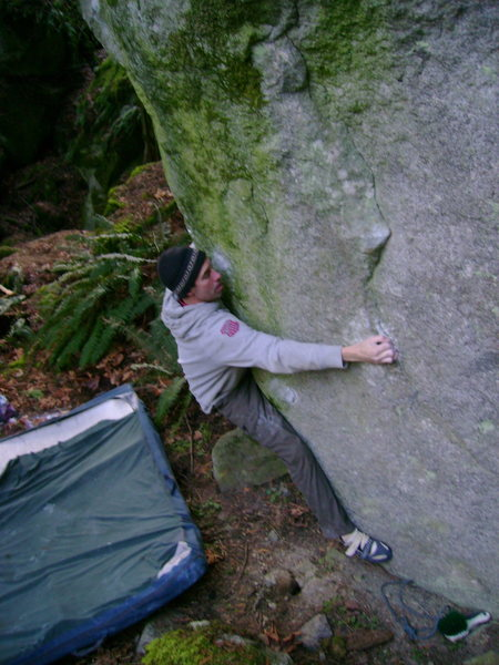 Rock Climbing Photo: One move in