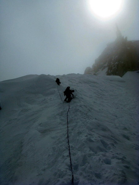 Rock Climbing Photo: Descending the Aiguille du Midi in a storm. Chamon...
