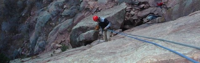 Rock Climbing Photo: rapping down the first pitch of Calypso