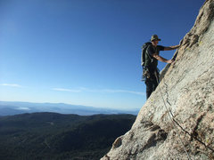 Rock Climbing Photo: Jascha on the easy traverse before P3