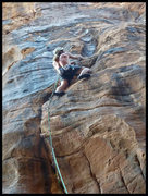 Rock Climbing Photo: Sewing it up, just past the steep heuco of Mannish...