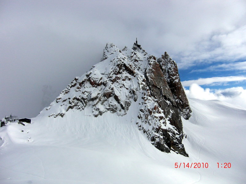 Bad Conditions on the Arete des Cosmiques<br> Aiguille du Midi, Chamonix, France<br> May 2010
