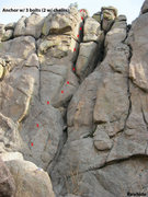 Rock Climbing Photo: Approximate locations of bolts & anchor on Rawhide...