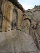 Rock Climbing Photo: Approximate location of bolts & anchor on Cornered...